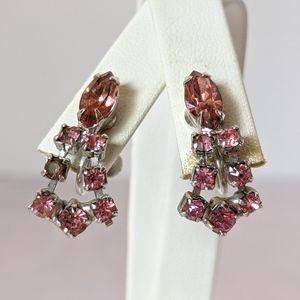 Vintage silver & pink rhinestone screw earrings
